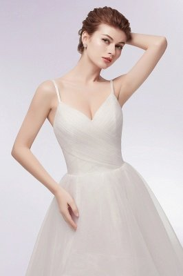 YVONNE | A-line Hi-lo Spaghetti Sweetheart Tulle Ivory Wedding Dresses with Ruffles_11