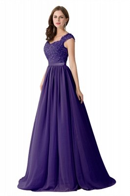 ADA | A-line V Neck Chiffon Bridesmaid Dress with Appliques_4