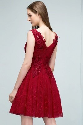 JULIA | A-line Sleeveless Short V-neck Lace Appliqued Tulle Prom Dresses_8