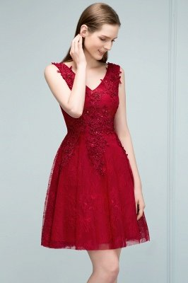 JULIA | A-line Sleeveless Short V-neck Lace Appliqued Tulle Prom Dresses_5