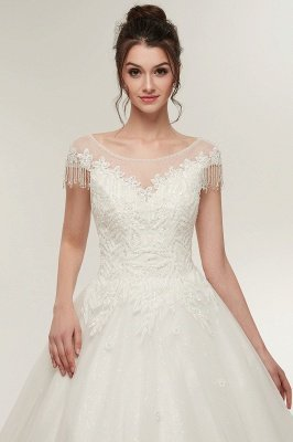YVETTE | A-line Cap Sleeves Scoop Floor Length Lace Appliques Wedding Dresses with Crystals_8