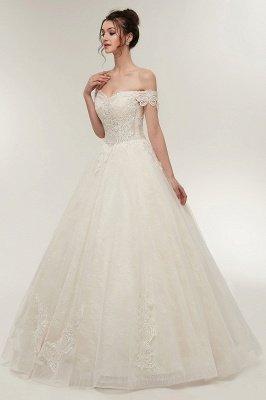 ZOLA | A-line Off-плечо Милая Длина пола Кружева Appliques Свадебные платья с Lace-up_7