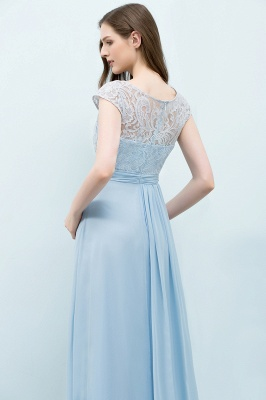 SHIRLEY | A-line Long Cap Sleeves Lace Top Chiffon Bridesmaid Dresses_9