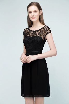 REBECCA | A-line Short Scoop Lace Top Chiffon Bridesmaid Dresses_1