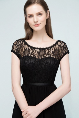REBECCA | A-line Short Scoop Lace Top Chiffon Bridesmaid Dresses_8