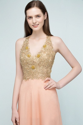 RENA | A-line Floor Length Spaghetti V-neck Appliqued Chiffon Bridesmaid Dresses_7