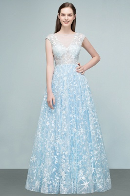 RHEA | A-line Cap Sleeves Long Appliqued Tulle Prom Dresses_6