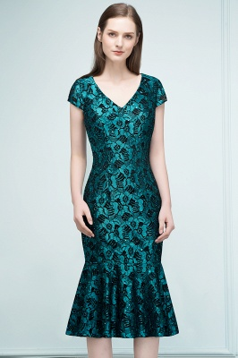 REGINA | Mermaid V-neck Tea Length Lace Appliqued Prom Dresses_4