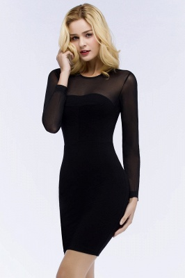ROBERTA | Sheath Long Sleeves Sheer Neckline Short Black Homecoming Dresses