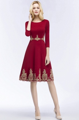 ROSANNA | A-line Knee Length Burgundy Appliques Homecoming Dresses with Sleeves_7