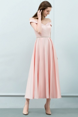 SHEILA | A-line Off-shoulder Tea Length Pink Prom Dresses with Sash