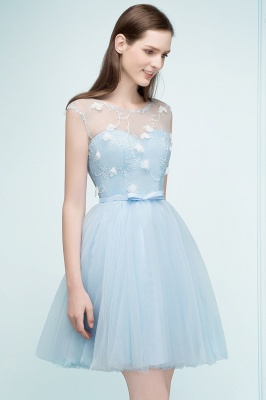 RHODA | A-line Short Appliques Tulle Homecoming Dresses with Sash