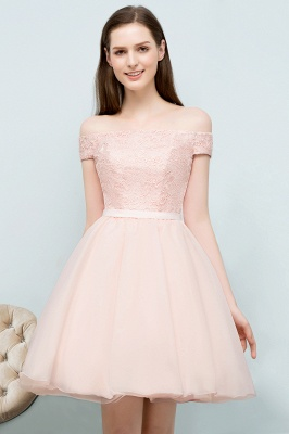 SOPHIA | A-line Off-shoulder Short Lace Chiffon Homecoming Dresses