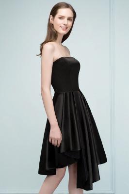 REA | A-line Strapless Short Ruffles Black Homecoming Dresses_5