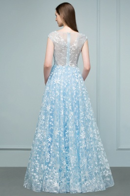 RHEA | A-line Cap Sleeves Long Appliqued Tulle Prom Dresses_3