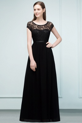 REESE | A-line Floor Length Short Sleeves Lace Bridesmaid Dresses with Sash