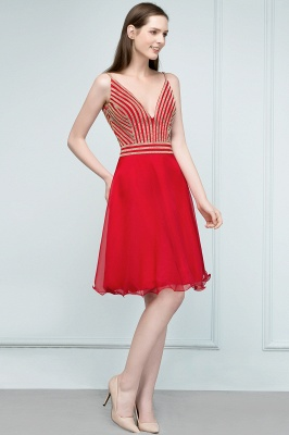 SUZAN | A-line V-neck Spaghetti Short Beading Tulle Homecoming Dresses