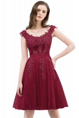 WILMA | Ball Gown Illusion Neckline Tea Length Lace Tulle Dusty Pink Prom Dresses with Beading_2
