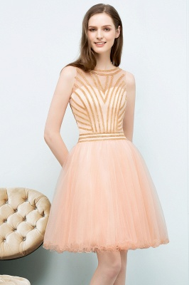 SNOW | A-line Short Sleeveless Beading Tulle Homecoming Dresses