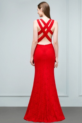 SUMMER | Mermaid Sleeveless Floor Length Red Lace Prom Dresses