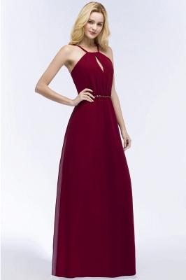ROMA | A-line Keyhole Neckline Spaghetti Bridesmaid Dresses with Beading Sash