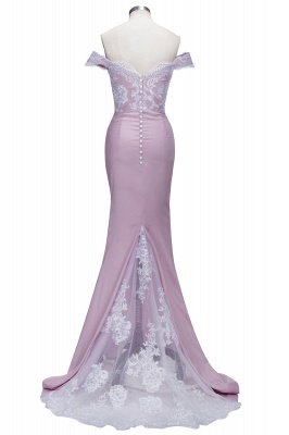 VIRGINIA | Mermaid Off-the-Shoulder Lace Appliques Blushing Pink Prom Dresses_3