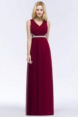 ROSALINE | Robe de demoiselle d'honneur A-ligne sans manches à col en V à volants avec bretelles perlées_1