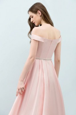 Long Pink Off The Shoulder A-Line Crystal Bridesmaid Dresses_6