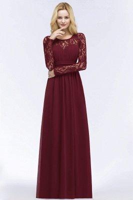 ROSALIE | A-line Floor Length Long Sleeves Lace Chiffon Bridesmaid Dresses_5