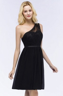 ROSA | A-line Short One-shoulder Lace Top Chiffon Homecoming Dresses with Sash