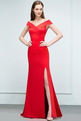 SUE | Mermaid Off-shoulder Floor Length Split Red Prom Dresses_4