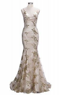 SAGE | Mermaid V-neck Spaghetti Floor-length Crystal Beads Prom Dresses_8