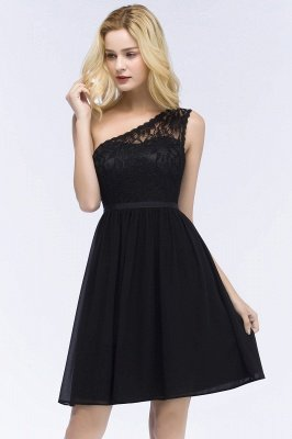 ROSA | A-line Short One-shoulder Lace Top Chiffon Homecoming Dresses with Sash_5