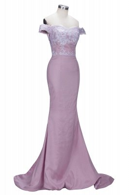 VIRGINIA | Mermaid Off-the-Shoulder Lace Appliques Blushing Pink Prom Dresses_4