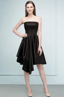 REA   A-line Strapless Short Ruffles Black Homecoming Dresses