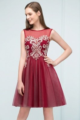 SUSANNA | A-line Short Sleeveless Appliqued Tulle Homecoming Dresses with Crystals_4