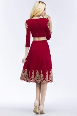 ROSAMOND | A-line Two-piece Long Sleeves Tea Length Appliques Homecoming Dresses_3