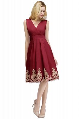 ROSEANNE | A-line V-neck Knee Length Sleeveless Appliques Homecoming Dresses_2