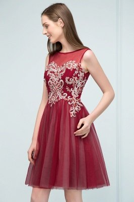 SUSANNA | A-line Short Sleeveless Appliqued Tulle Homecoming Dresses with Crystals_7