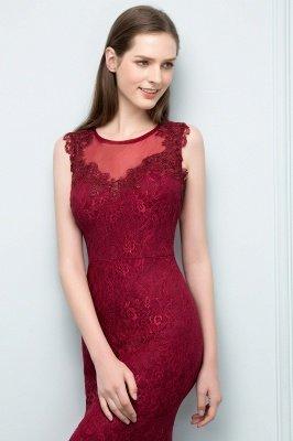 SUSAN | Mermaid Floor Length Sleeveless Lace Burgundy Prom Dresses