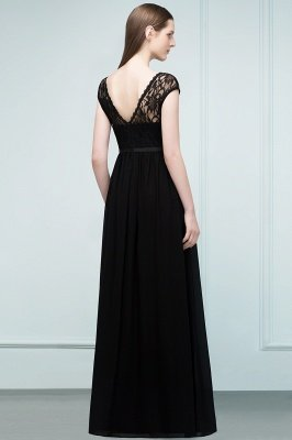 REESE | A-line Floor Length Short Sleeves Lace Bridesmaid Dresses with Sash_3