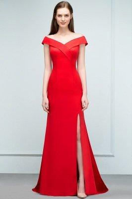 SUE | Mermaid Off-shoulder Floor Length Split Red Prom Dresses_6