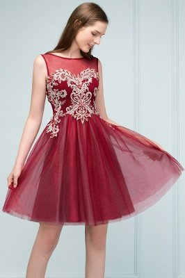 SUSANNA | A-line Short Sleeveless Appliqued Tulle Homecoming Dresses with Crystals_9