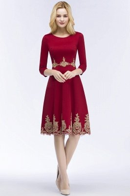 ROSANNA | A-line Knee Length Burgundy Appliques Homecoming Dresses with Sleeves_6