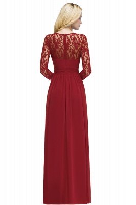 ROSALIE | A-line Floor Length Long Sleeves Lace Chiffon Bridesmaid Dresses_9