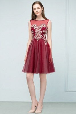 SUSANNA | A-line Short Sleeveless Appliqued Tulle Homecoming Dresses with Crystals_1