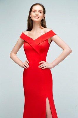SUE | Mermaid Off-shoulder Floor Length Split Red Prom Dresses_9