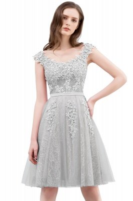 WILMA | Ball Gown Illusion Neckline Tea Length Lace Tulle Dusty Pink Prom Dresses with Beading_7