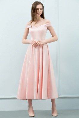 Long Pink Off The Shoulder A-Line Crystal Bridesmaid Dresses_4