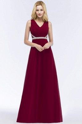 ROSALINE | Robe de demoiselle d'honneur A-ligne sans manches à col en V à volants avec bretelles perlées_6